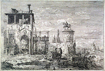 Landscape with Equestrian Statue, undated | Canaletto | Painting Reproduction