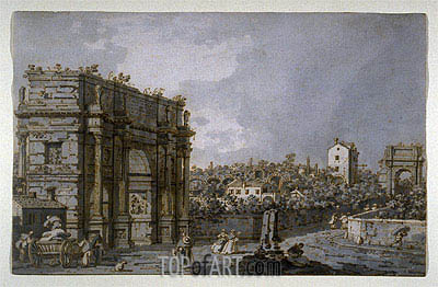 Canaletto | View of the Arch of Constantine and Environs, Rome, c.1758/65