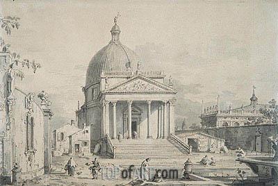 Canaletto | Veduta Ideata with San Simeone Piccolo, c.1735