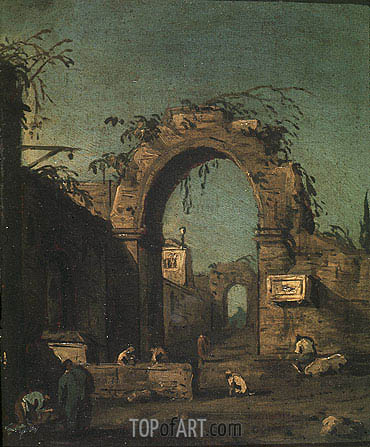 View of an Ancient Doorway, undated | Canaletto| Painting Reproduction
