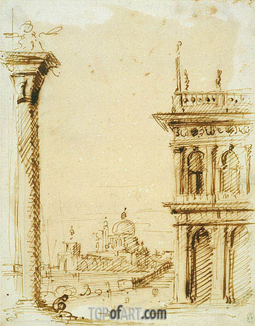 The Piazzetta Looking towards Santa Maria della Salute, c.1726 | Canaletto | Painting Reproduction