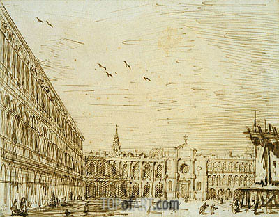 The Piazza Looking West, c.1725 | Canaletto| Painting Reproduction