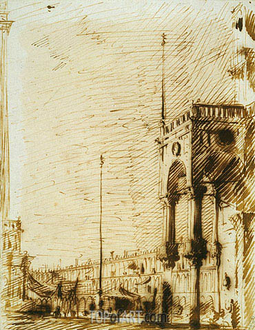 The Piazza Looking North-West with the Narthex of San Marco, c.1725 | Canaletto | Painting Reproduction