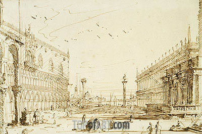 The Piazzetta Looking South, 1729 | Canaletto | Painting Reproduction