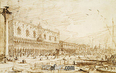 The Molo and Riva degli Schiavoni Looking East, 1729 | Canaletto| Painting Reproduction