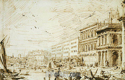 The Molo Looking West, 1729 | Canaletto | Painting Reproduction