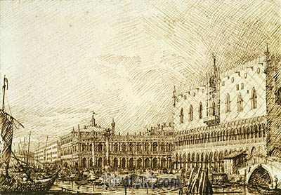 The Palazzo Ducale and Molo Looking West, c.1734 | Canaletto | Painting Reproduction