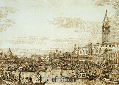 The Bacino Looking West on Ascension Day, c.1734 | Canaletto| Gemälde Reproduktion