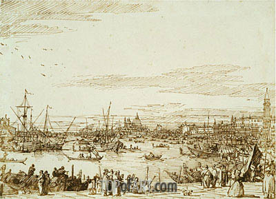 The Bacino Looking West, c.1734 | Canaletto | Gemälde Reproduktion