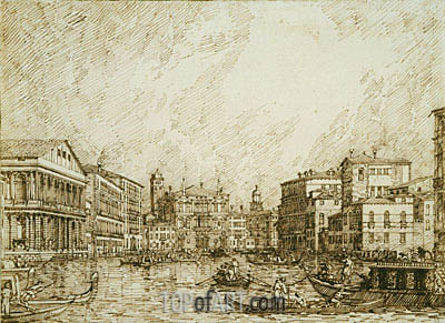 The Lower bend of the Grand Canal, Looking North, c.1734 | Canaletto | Painting Reproduction