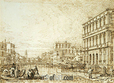 The Lower Reach of the Grand Canal, c.1734 | Canaletto | Gemälde Reproduktion