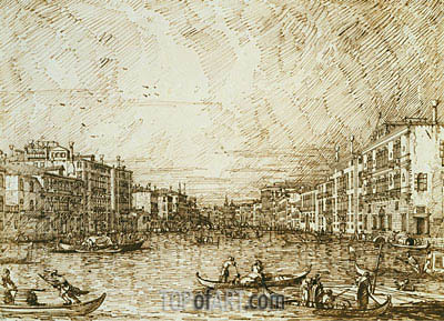 The Central Stretch of the Grand Canal, c.1734 | Canaletto| Painting Reproduction