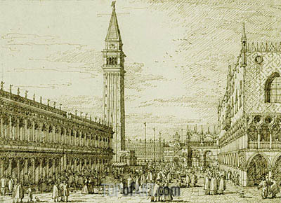 The Piazzetta Looking North, c.1735/40 | Canaletto| Gemälde Reproduktion