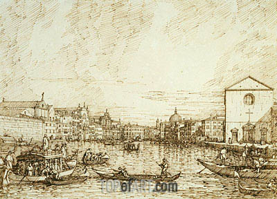 The Grand Canal Looking East from the Fondamenta della Croce, c.1734 | Canaletto| Gemälde Reproduktion