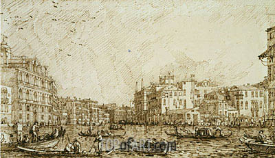 The Lower Bend of the Grand Canal Looking North-West, c.1734 | Canaletto | Gemälde Reproduktion
