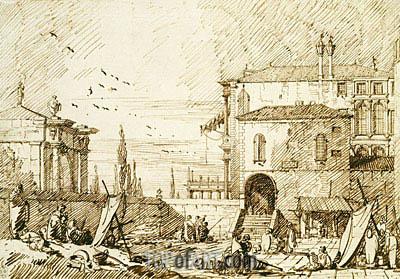 Canaletto | Capriccio of the Fontegheto della Farina, c.1735/40