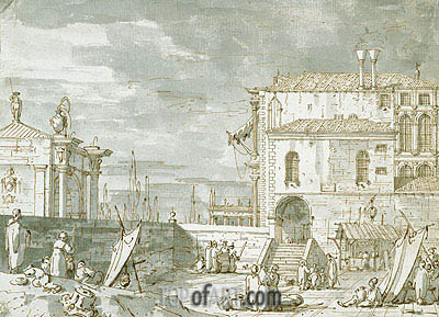 Capriccio of the Fontegheto della Farina, c.1735/40 | Canaletto| Painting Reproduction