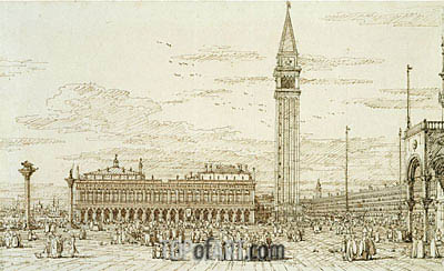 The Libreria, Campanile and Piazzetta from the East, c.1740 | Canaletto | Painting Reproduction
