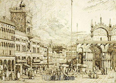 The Torre dell'Orologio and part of San Marco, c.1740/45 | Canaletto| Painting Reproduction
