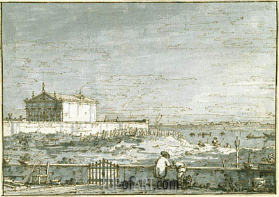 A Pavilion in a Walled Garden, the Lagoon Beyond, c.1740/45 | Canaletto| Painting Reproduction