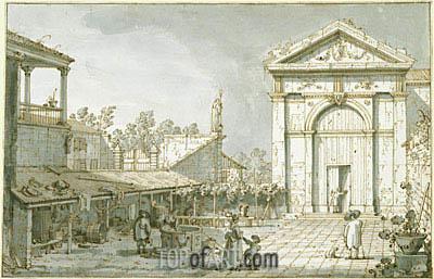 Canaletto | A Capriccio in the Courtyard of a Villa, c.1740/45