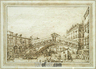 The Rialto Bridge from the South-West, c.1740/45 | Canaletto| Painting Reproduction