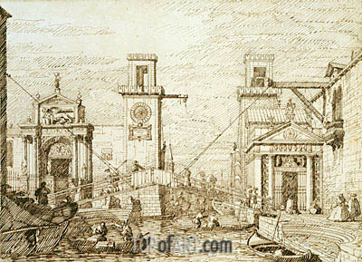The Entrance to the Arsenale, c.1740/45 | Canaletto| Painting Reproduction