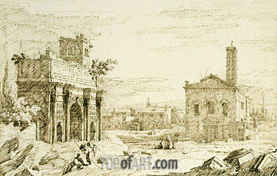 Rome: The Arch of Septimius Severus, c.1742 | Canaletto| Painting Reproduction