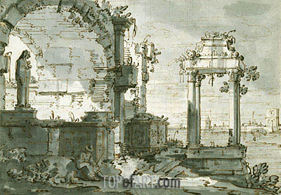 Canaletto | A Capriccio of Church Ruins on the Shores of the Lagoon, c.1740/45