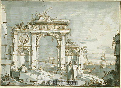 Canaletto | A Capriccio of a Ruined Arch on the Shores of a Lagoon, c.1740/45