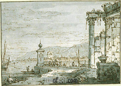 A Coastal Capriccio, c.1740/45 | Canaletto | Painting Reproduction