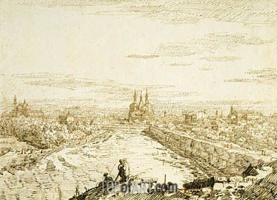 Canaletto | Padua: A Distant View of Santa Giustina and Sant'Antonio from the Ramparts, c.1742