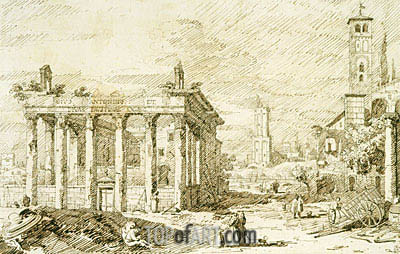 Canaletto | Rome: The Temple of Antoninus and Faustina, c.1742