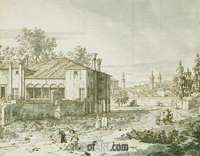A Villa on the Outskirts of Padua, c.1742 | Canaletto| Painting Reproduction
