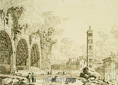 Rome: the Forum with the Basilica of Constantine and S. Francesca Romana, c.1742 | Canaletto| Painting Reproduction