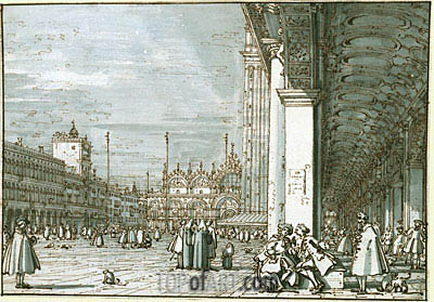 Canaletto | The Piazza Looking North-East from the Procuratie Nuove, c.1745