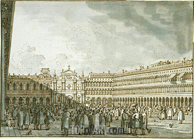 The Piazza Looking West from the Procuratie Nuove, c.1745 | Canaletto| Gemälde Reproduktion