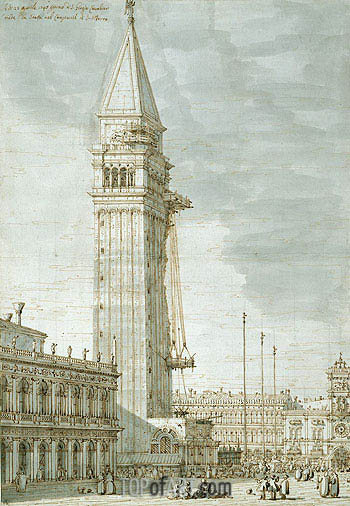 The Campanile under Repair, c.1745 | Canaletto| Painting Reproduction