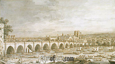 Canaletto | Westminster Bridge, London, with a Procession of Civic Barges, c.1747