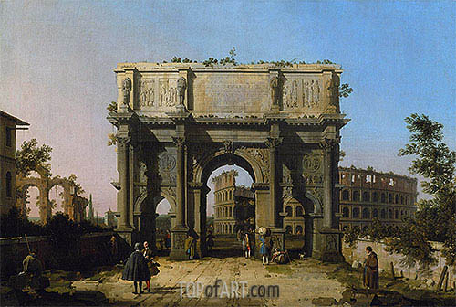 View of the Arch of Constantine with the Colosseum, c.1742/45 | Canaletto| Painting Reproduction