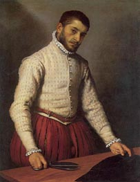 Portrait of a Man (The Tailor), c.1570 von Giovanni Battista Moroni | Gemälde-Reproduktion