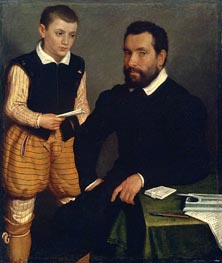 Portrait of a Man and a Boy (Count Alborghetti & Son), c.1545/50 by Giovanni Battista Moroni | Painting Reproduction
