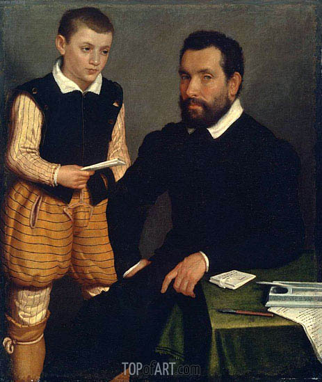 Portrait of a Man and a Boy (Count Alborghetti & Son), c.1545/50 | Giovanni Battista Moroni | Painting Reproduction