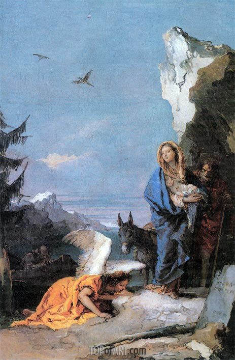 Flight into Egypt, c.1767/70 | Tiepolo | Gemälde Reproduktion