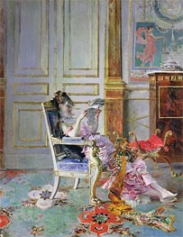 Girl Reading in a Salon, 1876 von Giovanni Boldini | Gemälde-Reproduktion