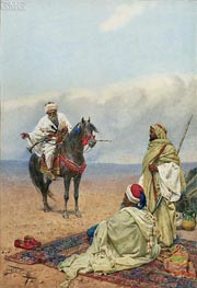 A Horseman Stopping at a Bedouin Camp, undated by Giulio Rosati | Painting Reproduction