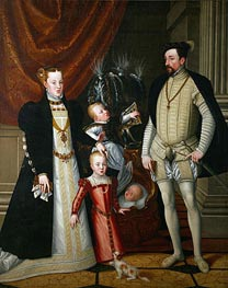 Emperor Maximilian II, His Wife Maria of Spain and His Children Anna, Rudolf and Ernst, 1553 by Arcimboldo | Painting Reproduction