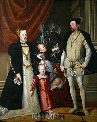 Emperor Maximilian II, His Wife Maria of Spain and His Children Anna, Rudolf and Ernst, 1553 | Arcimboldo| Painting Reproduction