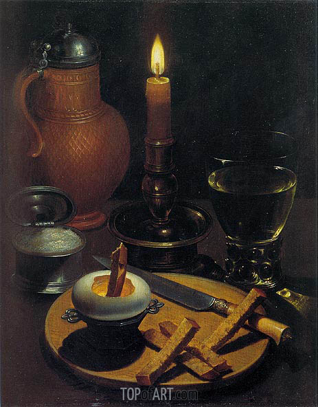 Still Life with Candle, 1630 | von Wedig| Painting Reproduction