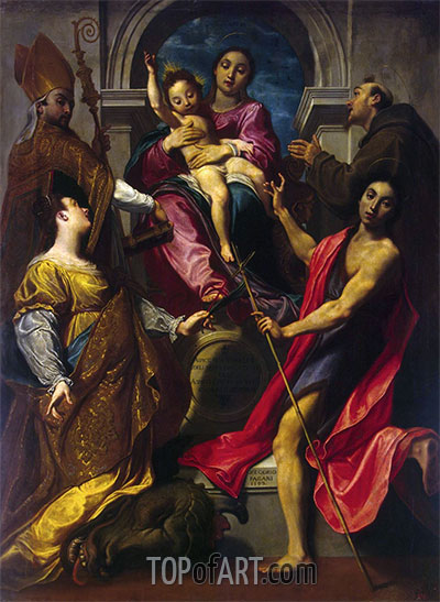 Madonna and the Child with St Francis of Assisi, St John the Baptist, St Gregory the Great and St Margaret of Cortona, 1592 | Gregorio Pagani | Painting Reproduction